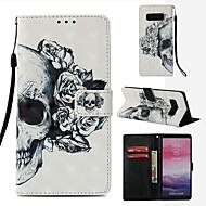 Недорогие Чехлы и кейсы для Galaxy Note-Кейс для Назначение SSamsung Galaxy Note 8 Кошелек / Бумажник для карт / Флип Чехол Черепа Твердый Кожа PU для Note 8