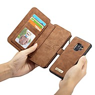 Недорогие Чехлы и кейсы для Galaxy S6 Edge Plus-Кейс для Назначение SSamsung Galaxy S9 Plus / S9 Кошелек / Бумажник для карт / Защита от удара Чехол Однотонный Твердый Настоящая кожа для S9 / S9 Plus / S8 Plus