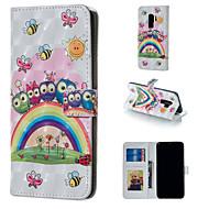 Недорогие Чехлы и кейсы для Galaxy S7-Кейс для Назначение SSamsung Galaxy S9 Plus / S9 Кошелек / Бумажник для карт / со стендом Чехол Сова Твердый Кожа PU для S9 / S9 Plus / S8 Plus
