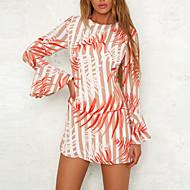 cheap -Women's Party Birthday Basic Mini Slim Sheath Dress - Geometric Print Spring Cotton Red M L XL