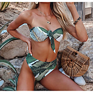 cheap -Women's Basic Strapless Green Black Bandeau Cheeky Bikini Swimwear - Geometric Print M L XL Green
