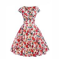 cheap -Women's Daily Street chic Chiffon Dress - Floral Print Sweetheart Neckline Summer Red L XL XXL