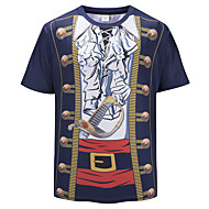 cheap -Men's Basic / Exaggerated T-shirt - Geometric / 3D / Cartoon Patchwork / Print