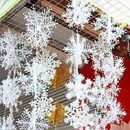 זול -קישוטים לחג לשנה החדשה / קישוטי חג מולד קישוטים לחג המולד דקורטיבי לבן 6pcs