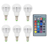 お買い得  LED ボール型電球-6本 2 W 150 lm E14 LEDボール型電球 1 LEDビーズ リモコン操作 / 装飾用 RGB 85-265 V