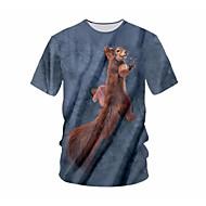 cheap -men's plus size t-shirt - color block / geometric round neck