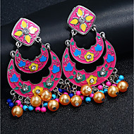 cheap -1 Pair Women's Fancy Drop Earrings - Imitation Pearl Gold Plated Imitation Diamond Bohemian Jewelry Red / Green / Blue For Gift Stage Holiday