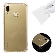 halpa Puhelimen kuoret-Etui Käyttötarkoitus Huawei P20 lite Iskunkestävä / Läpinäkyvä Takakuori Yhtenäinen Pehmeä TPU varten Huawei P20 lite