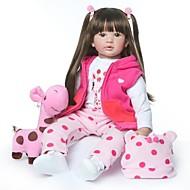 お買い得  -NPKCOLLECTION リボーンドール ガールドール 赤ちゃん(女) 24 インチ 生き生きとした 新デザイン 人工インプラントブラウンアイズ 子供 女の子 おもちゃ ギフト