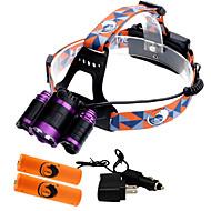 お買い得  フラッシュライト/ランタン/ライト-U'King ZQ-X809 ヘッドランプ 自転車用ヘッドライト LED LED 3 エミッタ 4000 lm 4.0 照明モード バッテリー&チャージャー付き ズーム可能, 焦点調整可, 充電式 キャンプ / ハイキング / ケイビング, 狩猟, 釣り