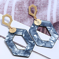 cheap -1 Pair Women's Geometrical Drop Earrings - Resin Gold Plated Stylish Simple Jewelry Gray / Coffee / Royal Blue For Party Street Holiday