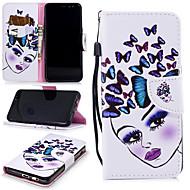 Недорогие Чехлы и кейсы для Galaxy А-Кейс для Назначение SSamsung Galaxy A8 2018 Кошелек / Бумажник для карт / Защита от удара Чехол Бабочка / Соблазнительная девушка Твердый Кожа PU для A8 2018