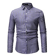 cheap -Men's Basic Shirt - Striped / Geometric / Color Block Print