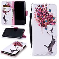Недорогие Чехлы и кейсы для Galaxy S9-Кейс для Назначение SSamsung Galaxy S9 Кошелек / Бумажник для карт / Защита от удара Чехол Кот / Бабочка Твердый Кожа PU для S9