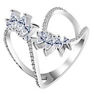 levne -Dámské Kubický zirkon Otevřete kruh obalovací kroužek Měď Fashion Ring Šperky Zlatá / Stříbrná / Růžová Pro Svatební Párty Zásnuby Nastavitelný