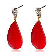 levne -Dámské Červená Křišťál Klasika Visací náušnice - Pozlacené Umělé diamanty Kapka stylové Romantické Cute Style Šperky Fialová Pro Denní Formální 1 Pair