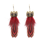 cheap -Women's Retro Drop Earrings - Feather Feather Stylish Bohemian Jewelry Red / Blue / Pink For Gift Daily Carnival Prom Club 1 Pair