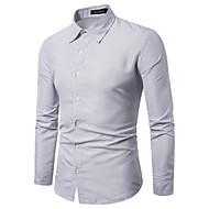 baratos -Homens Camisa Social Estampado, Sólido / Poá / Listrado