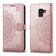 cheap -Case For Samsung Galaxy A8 Plus 2018 Card Holder / Flip Full Body Cases Solid Colored Hard PU Leather for A8+ 2018