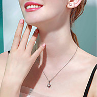 お買い得  -女性用 淡水パール ネックレス 真珠 S925スターリングシルバー ホワイト 40+3 cm ネックレス ジュエリー 1個 用途 誕生日 バレンタイン