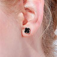 저렴한 -여성용 스터드 귀걸이 S925 스털링 실버 귀걸이 패션 보석류 블랙 제품 생일 선물 일상 애인 1 쌍