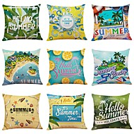 cheap -9 pcs Linen Pillow Cover, Special Design Nautical Floral Print Casual / Daily Leisure