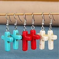 저렴한 -여성용 터코아즈 드랍 귀걸이 귀걸이 십자가 빈티지 보석류 화이트 / 레드 / 블루 제품 일상 1 쌍