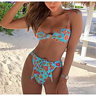 billige -Dame Sporty Basale Blå Trekant Cheeky Bikini Badetøj - Blomstret Farveblok Åben ryg Trykt mønster S M L Blå