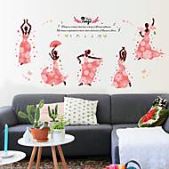 baratos -Autocolantes de Parede Decorativos - Adesivos de parede de pessoas Floral / Botânico Sala de Estar / Quarto / Banheiro
