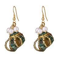 저렴한 -여성용 드랍 귀걸이 모조 진주 쉘 귀걸이 자연적 열대의 보석류 골드 제품 결혼식 파티 일상 거리 작동 1 쌍