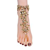 זול -בגדי ריקוד נשים צבעים מרובים סנדלי רגליים יחפות יהלום מדומה יצירתי ארופאי תכשיט לקרסול תכשיטים שחור / כסף / כחול עבור יומי