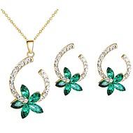 Χαμηλού Κόστους -Γυναικεία Πράσινο Κρυστάλλινο Κοσμήματα Σετ Λουλούδι Στυλάτο Περιλαμβάνω Κουμπωτά Σκουλαρίκια Κρεμαστό Χρυσό Για Καθημερινά