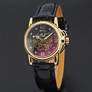 halpa -Naisten mekaaninen Watch Tyylikäs minimalistinen Musta Valkoinen Aito nahka Quartz Valkoinen Musta Hollow Engraving Analoginen