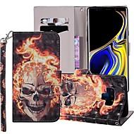 preiswerte -Hülle Für Samsung Galaxy Note 9 Geldbeutel / Kreditkartenfächer / mit Halterung Ganzkörper-Gehäuse Totenkopf Motiv Hart PU-Leder für Note 9