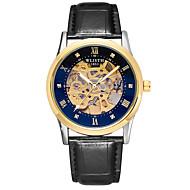levne -Pánské mechanické hodinky Automatické natahování Pravá kůže Černá / Hnědá 30 m Voděodolné S dutým gravírováním Svítící Analogové Vintage Kostra - zlatá + černá zlatá + bílá Stříbrný / bílá