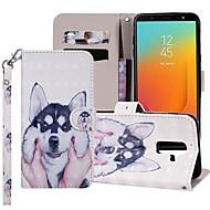 preiswerte -Hülle Für Samsung Galaxy Galaxy J6(2018) / Galaxy J7(2018) Geldbeutel / Kreditkartenfächer / mit Halterung Ganzkörper-Gehäuse Hund Hart PU-Leder für J8 (2018) / J7 (2017) / J7 (2018)