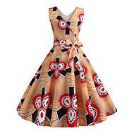 abordables -Femme Rétro Vintage Basique Au dessus du genou Balançoire Robe - Imprimé, Fleur Géométrique Orange L XL XXL Sans Manches