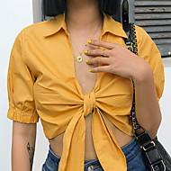 billige -Dame - Ensfarvet T-shirt Gul S