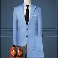 Muškarci odijela, Jednobojni Kragna košulje Poliester Svjetloplav / Žutomrk / Navy Plava XL / XXL / XXXL