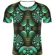 billige -T-skjorte Herre - 3D / Regnbue / Grafisk, Trykt mønster Punk & Gotisk / overdrevet Grønn XXL