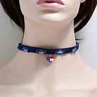 levne -Dámské Obojkové náhrdelníky Pletený americká vlajka Srdce Vlajka Evropský Moderní Módní Látka Chrome Modrá 30+5 cm Náhrdelníky Šperky 1ks Pro Denní Street Festival