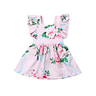 cheap -Baby Girls' Active / Basic Floral Bow / Print Sleeveless Dress Blushing Pink