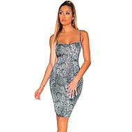 abordables -Mujer Básico Vaina Vestido - Estampado, Geométrico Hasta la Rodilla