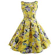 رخيصةأون -فستان نسائي A line متموج أساسي أنيق بقع طباعة طول الركبة ألوان متناوبة