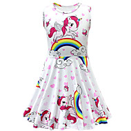 cheap -Kids Toddler Girls' Active Street chic Cartoon Sleeveless Above Knee Dress White