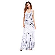abordables -Mujer Básico Elegante Corte Bodycon Vaina Vestido - Estampado, Geométrico Midi