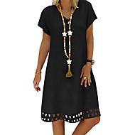 billige -Dame Grunnleggende A-linje Skjorte Kjole - Ensfarget Knelang