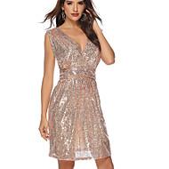 رخيصةأون -فستان نسائي ثوب ضيق ترتر فوق الركبة لون سادة
