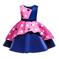 cheap -Kids Toddler Girls' Basic Sweet Heart Bow Patchwork Print Sleeveless Knee-length Cotton Dress Blushing Pink