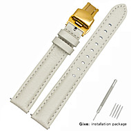 halpa -aitoa nahkaa / Nahka / Vasikankarva Watch Band Hihna varten Valkoinen 17cm / 6.69 Tuumaa / 18cm / 7 tuumaa / 19cm / 7.48 tuumaa 1.2cm / 0.47 tuumaa / 1.3cm / 0.5 tuumaa / 1.4cm / 0.55 tuumaa